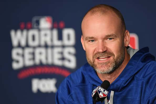 : David Ross #3 of the Chicago Cubs speaks with the media during a press conference prior to Game Two of the 2016 World Series