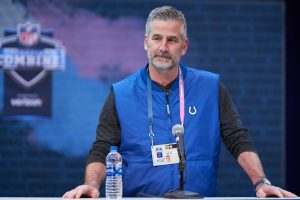 Colts head coach Frank Reich talks at the 2019 NFL Combine.