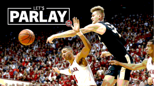 Let's Parlay, Purdue's Matt Haarms blocking an Indiana player's shot