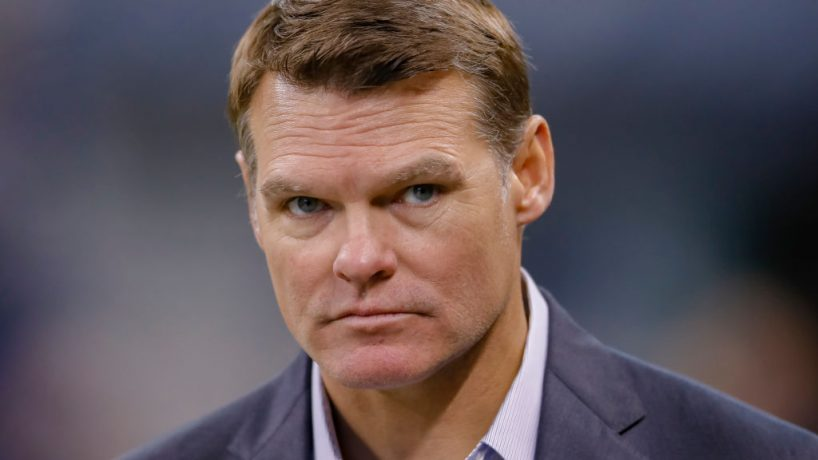 Colts general manager Chris Ballard walks down the sideline during a 2018 game at Lucas Oil Stadium