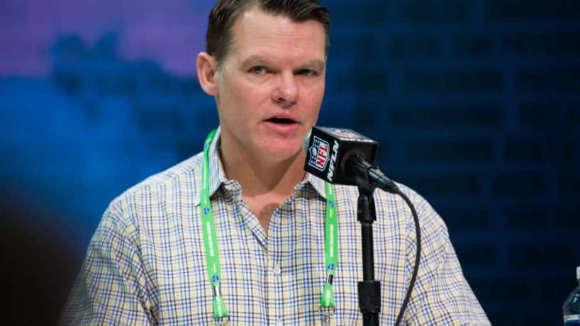 Indianapolis Colts general manager Chris Ballard answers questions from the media during the NFL Scouting Combine