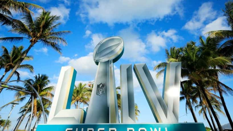 Signage is displayed near the FOX Sports South Beach studio compound prior to Super Bowl LIV
