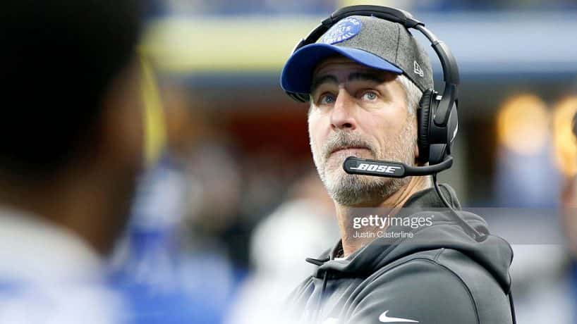 Frank Reich on the sidelines as the Colts take on the Carolina Panthers