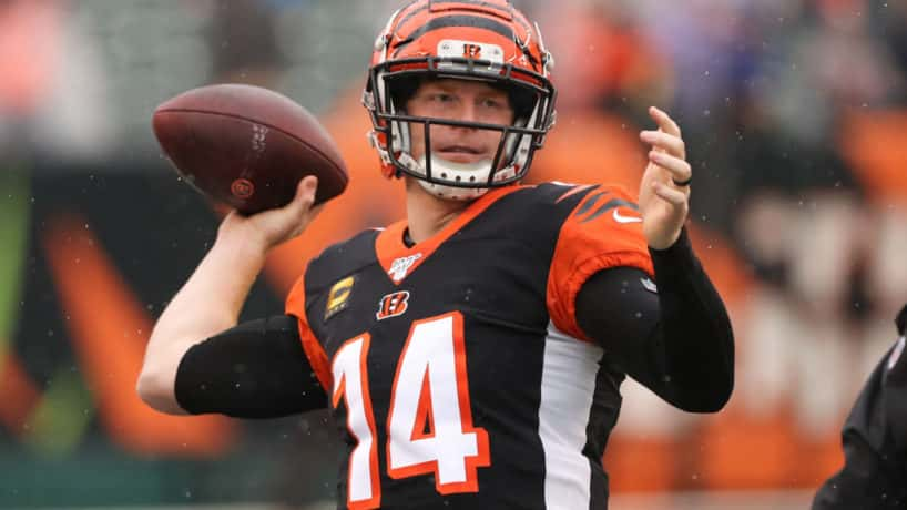 Cincinnati Bengals quarterback Andy Dalton (14) warms up before the game against the Cleveland Browns and the Cincinnati Bengals on December 29th 2019, at Paul Brown Stadium in Cincinnati