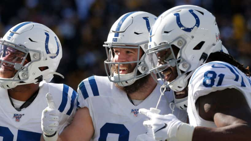 Colts tight ends smile after a touchdown.