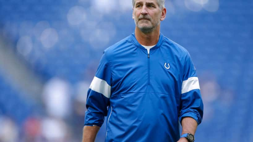 Colts head coach Frank Reich walks on the sideline before a home game.
