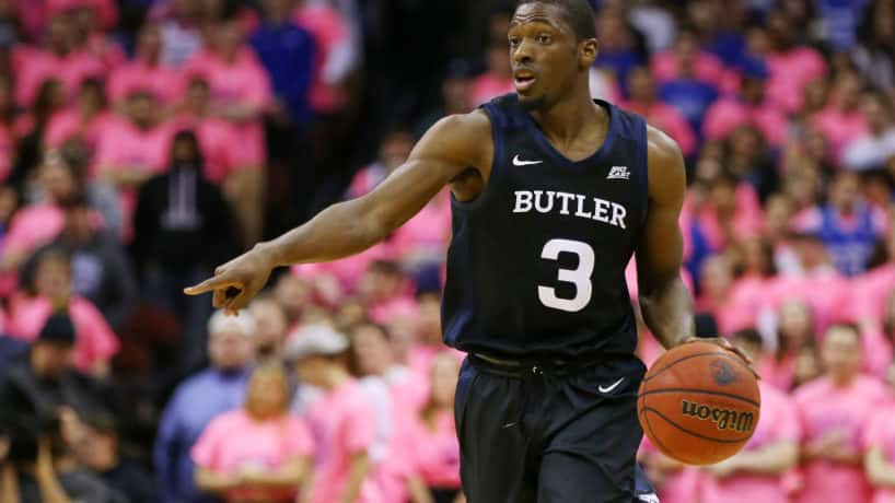 Kamar Baldwin #3 of the Butler Bulldogs in action against the Seton Hall Pirates during a college basketball game
