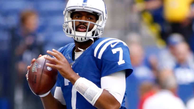 Colts quarterback Jacoby Brissett gets ready to throw a pass before a 2019 game.