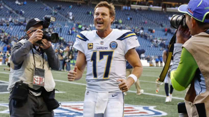 Philip Rivers screams coming off the field in 2019.