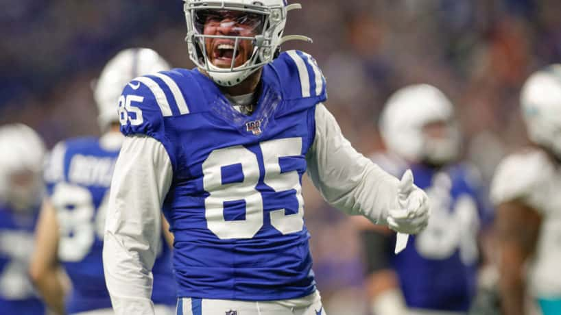 Colts tight end Eric Ebron reacts in a 2019 November game.