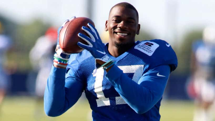 Colts wide receiver Devin Funchess catches a ball in practice.