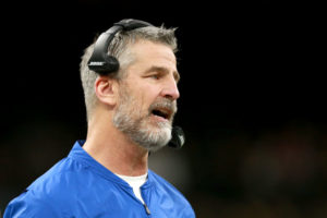 Colts head coach Frank Reich looks on from the sideline in a 2019 game.