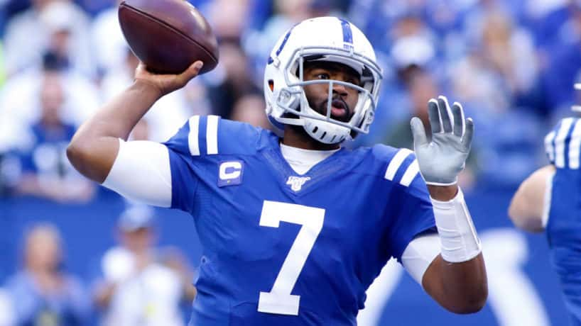 Colts quarterback Jacoby Brissett gets ready to throw.