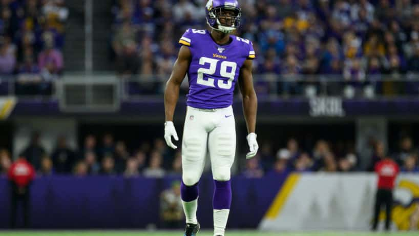 Former Vikings cornerback Xavier Rhodes lines up for a snap.