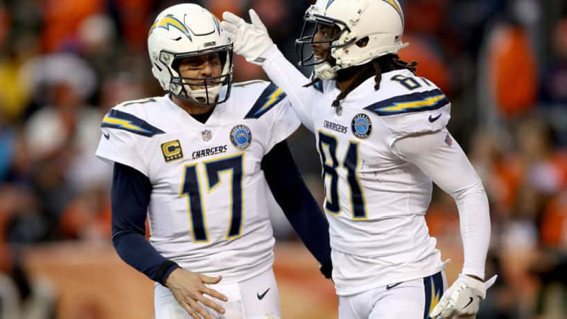 Philip Rivers celebrates with wideout Mike Williams after a big play.