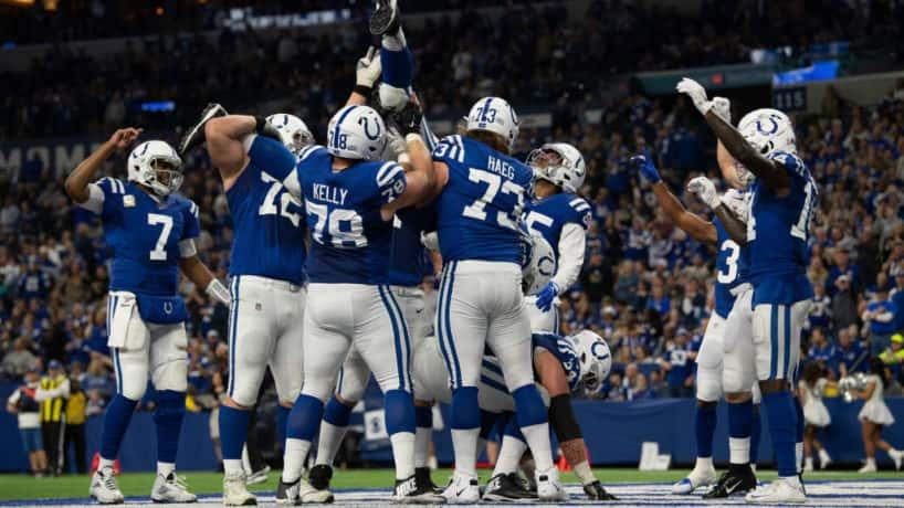 Colts celebrate a touchdown at Lucas Oil Stadium