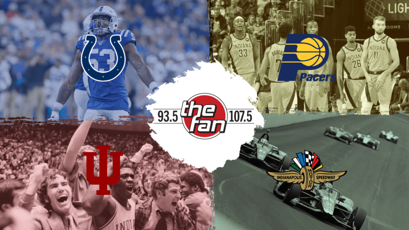 93.5 & 107.5 The Fan, with pictures of Peyton Manning, the Indiana Pacers, the IU Hoosiers basketball team, and the Indianapolis 500
