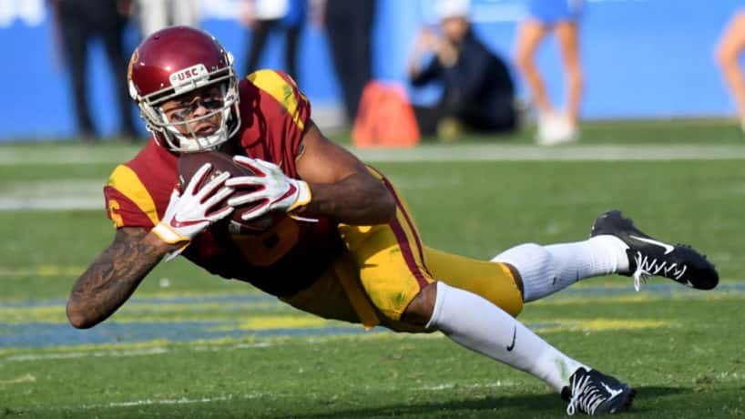 Former USC wideout Michael Pittman makes a catch against UCLA.