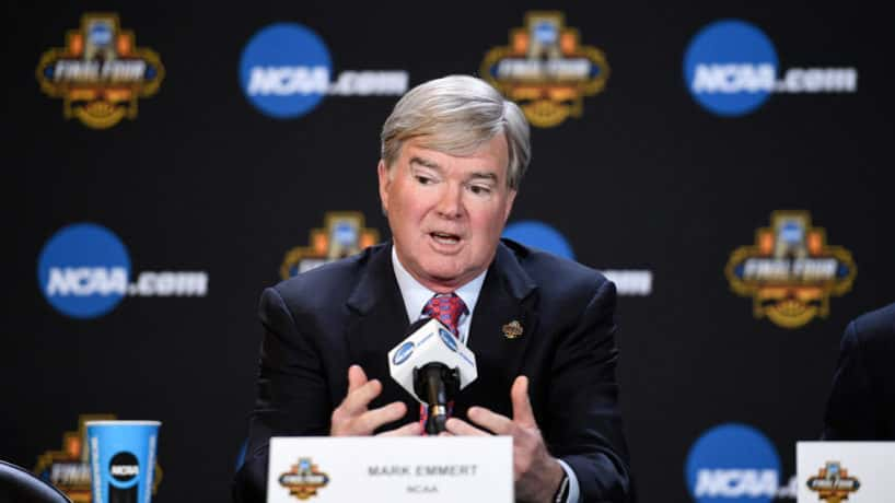 NCAA President Mark Emmert answers a question at a press conference
