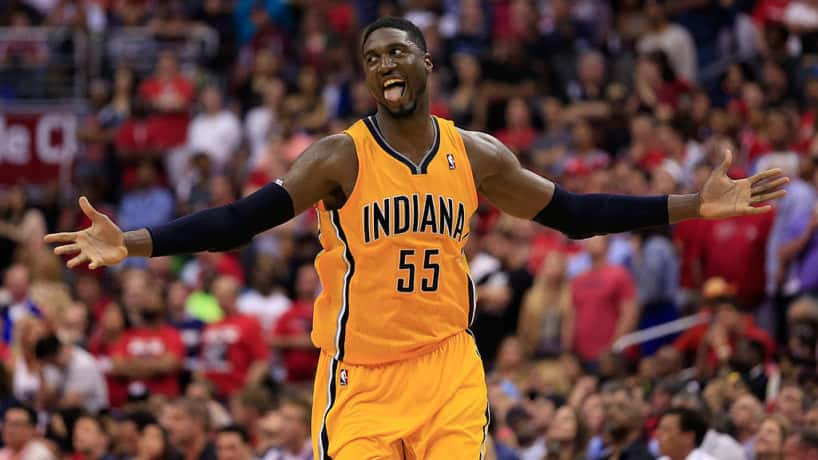 Roy Hibbert celebrating