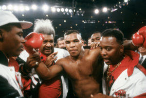 Mike Tyson celebrates after a victory