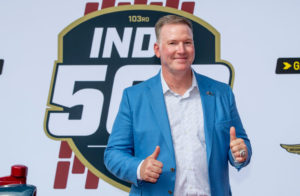 Jim Cornelison gives two thumbs up at the Indy 500