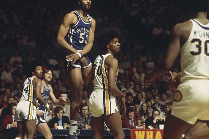 Artis Gilmore #53 of the Kentucky Colonels jumps during a game against the Indiana Pacers