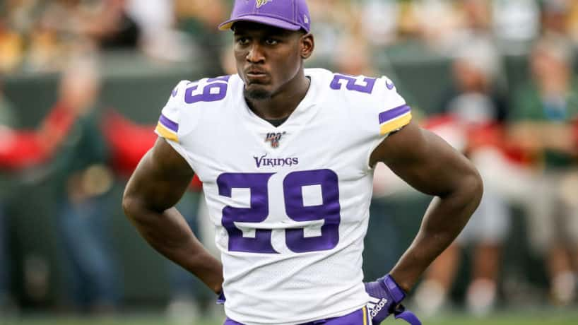 Former Vikings cornerback Xavier Rhodes looks on during a 2019 game.