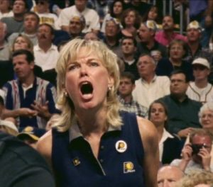 Kathy Martin Harrison yelling at a Pacers game
