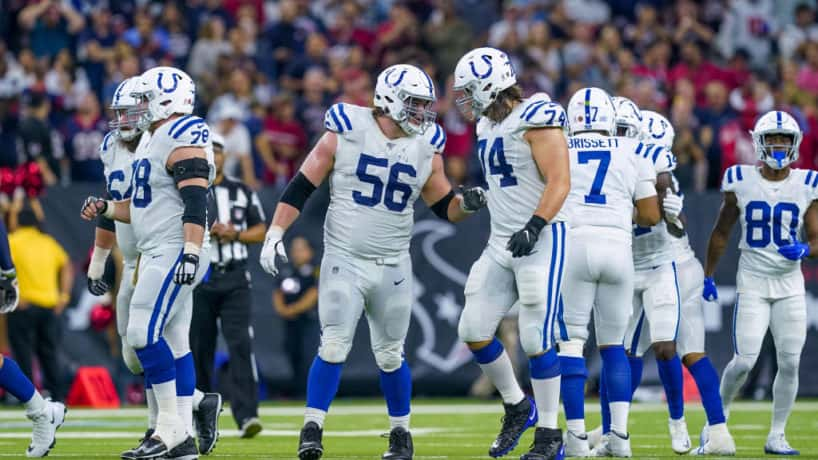 Colts offensive line gets ready for a 2019 snap.