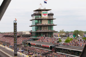 A general view of the pagoda and front stretch of the Indianapolis Motor Speedway