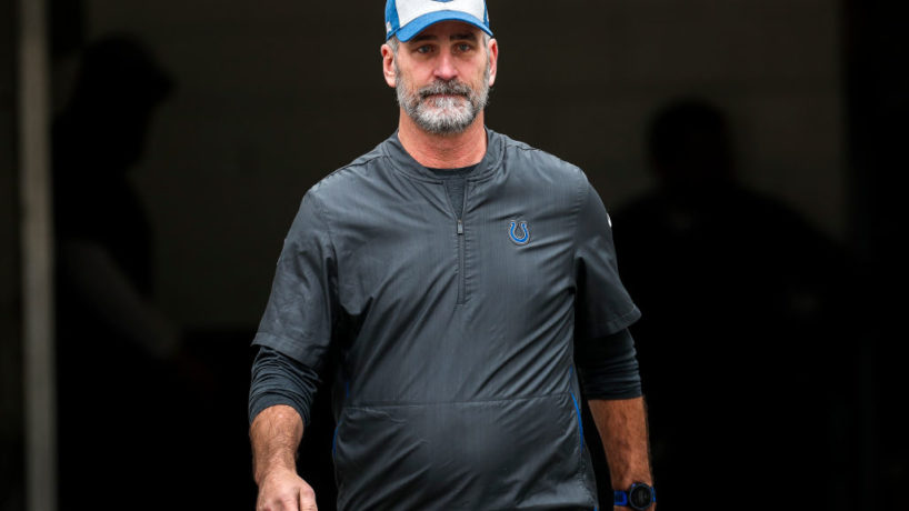 Colts head coach Frank Reich walks out of the tunnel before a game.