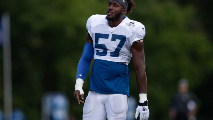 Colts defensive end Kemoko Turay walks on the field for a spring practice.