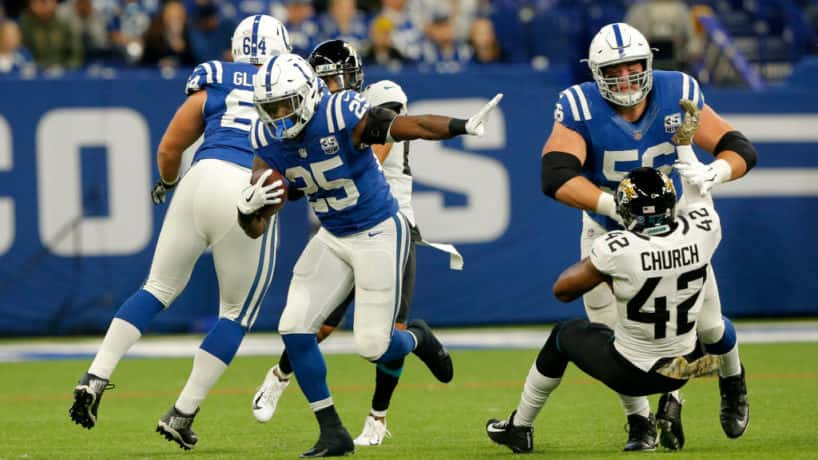 Colts running back Marlon Mack runs in the open field in 2019.