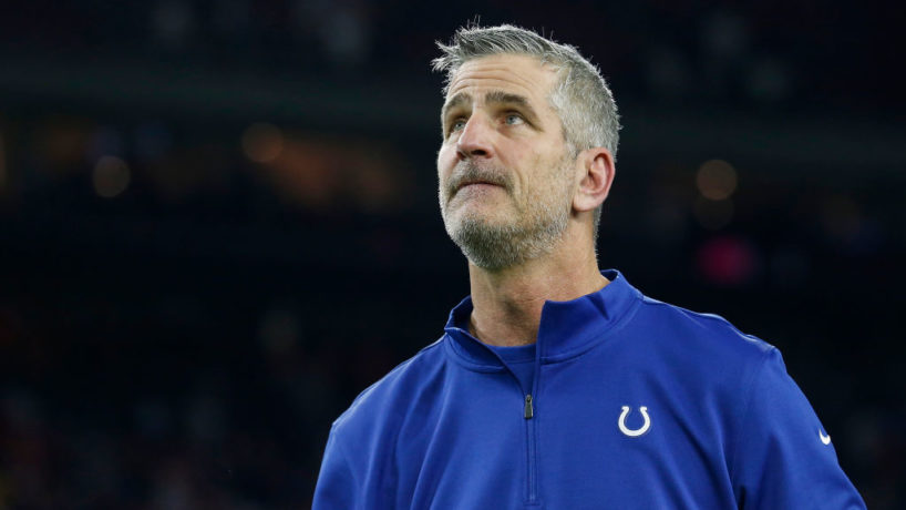 Colts head coach Frank Reich looks up in a 2018 game.