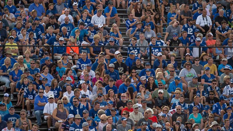 Colts fans take in a Training Camp in practice.