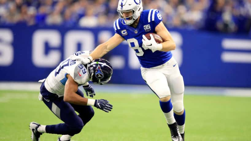 Jack Doyle #84 of the Indianapolis Colts runs the ball in the game against the Tennessee Titans in the second quarter at Lucas Oil Stadium