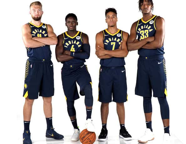 The Indiana Pacers pose for a team picture during media day.