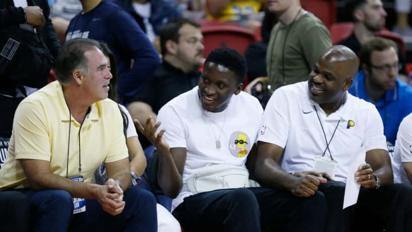 General manager Kevin Pritchard, Victor Oladipo #4 and head coach Nate McMillan of the Indiana Pacers look on during the game between the Atlanta Hawks and the Indiana Pacers