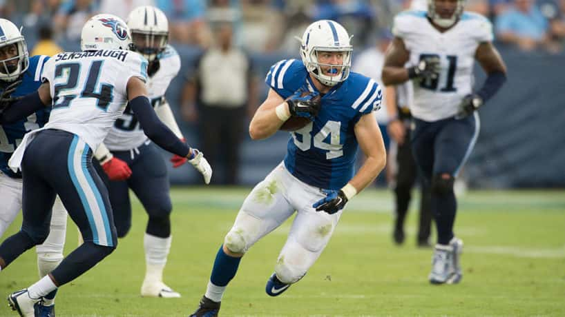 Colts tight end Jack Doyle runs in the open field in a 2019 game.