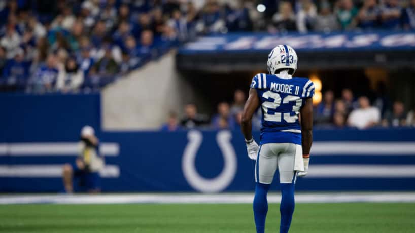 Colts cornerback Kenny Moore lines up before a snap.