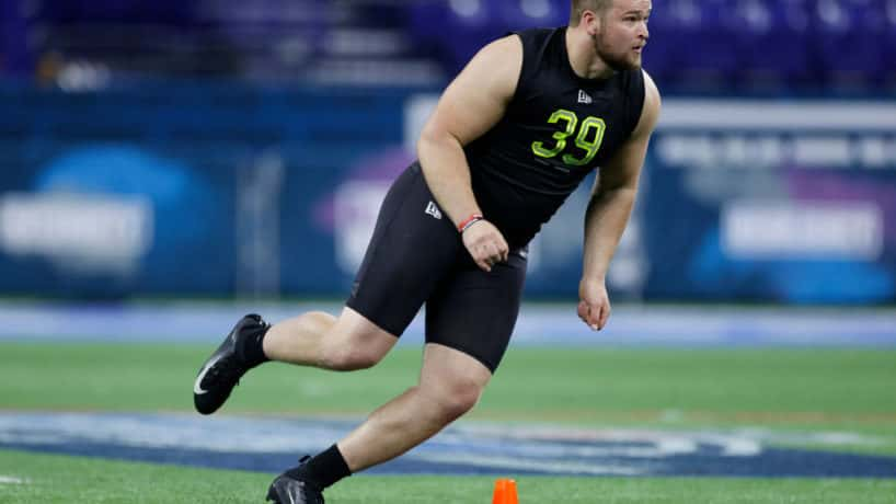 Former Ball State offensive lineman Danny Pinter works out during the 2020 Combine.