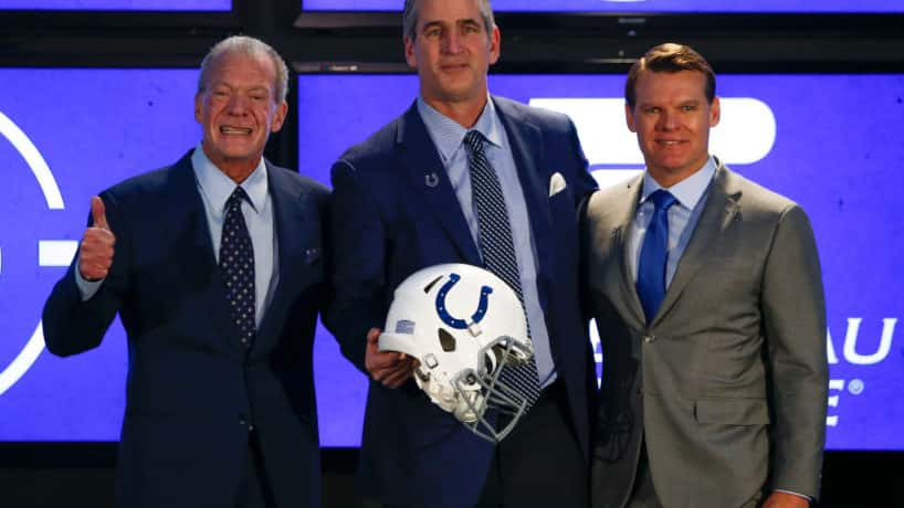 Colts brass at the press conference of Frank Reich.