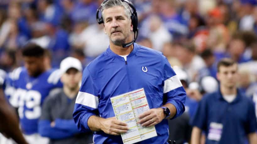Colts head coach Frank Reich looks on from the sideline.
