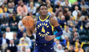 Pacers guard Victor Oladipo brings up the ball in a 2019-20 game.