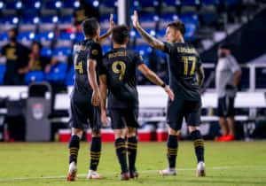 Los Angeles FC forward Diego Rossi (9) celebrates scoring his goal during the MLS Is Back Tournament between the LA FC and LA Galaxy on July 13, 2020 at the ESPN Wide World of Sports, Orlando FL