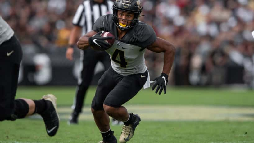 Purdue Boilermakers wide receiver Rondale Moore (4) runs after a catch during the college football game between the Purdue Boilermakers and Minnesota Golden Gophers on September 28, 2019, at Ross-Ade Stadium in West Lafayette, IN