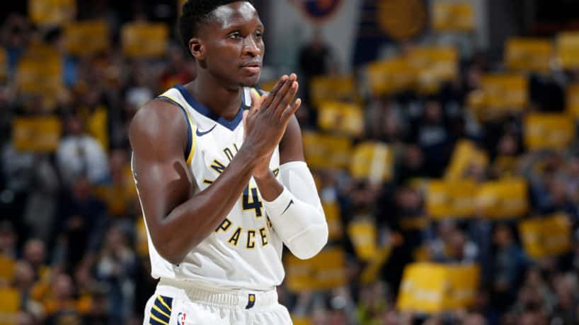 Pacers guard Victor Oladipo plays in a 2020 game.