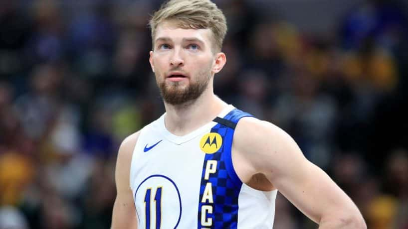 Domantas Sabonis #11 of the Indiana Pacers watches the action against the Milwaukee Bucks at Bankers Life Fieldhouse on February 12, 2020 in Indianapolis, Indiana