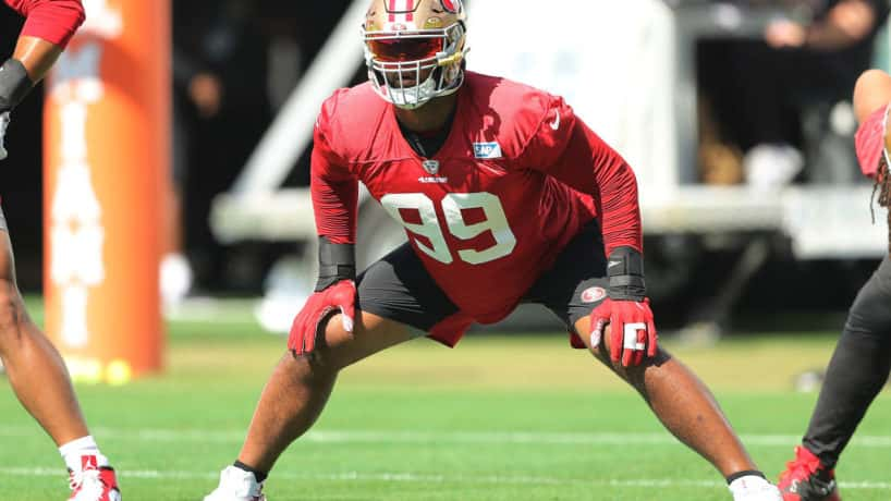 DeForest Buckner #99 of the San Francisco 49ers stretches during practice for Super Bowl LIV at the Greentree Practice Fields on the campus of the University of Miami on January 30, 2020 in Coral Gables, Florida